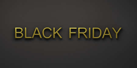 Black Friday Sale. Gold Banner, poster, logo golden color on dark background..3D Render illustration