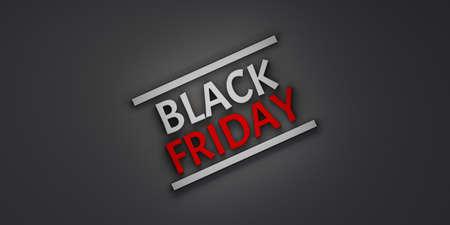 Black Friday Text Banner, poster, logo on dark background.3D Render illustration Stok Fotoğraf