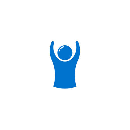 Winner man logo with arms up for success business Çizim