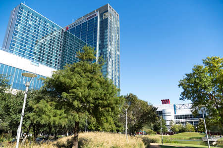 Houston, TX - October 29, 2020: Street in Discovery Green Park Houston Texas Picture