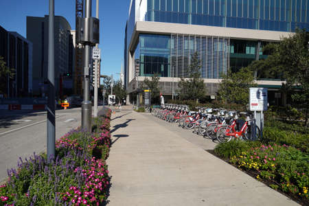 Houston, TX - October 29, 2020: Crawford and Walker Bicycle Island Station Discovery Green Houston Texas Editöryel