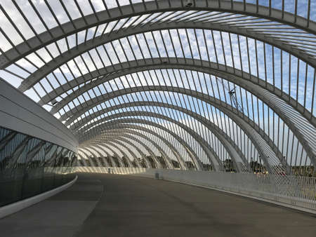 Lakeland, Florida - March 11, 2020 : Innovation, Science and Technology Building of Florida Polytechnic University Architecture metal Arcway Structure Redakční