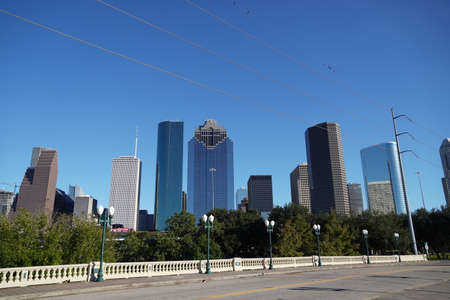 View from Road Downtown Houston in Sunset afternoon skyscrapers. Landscape Photo Stok Fotoğraf