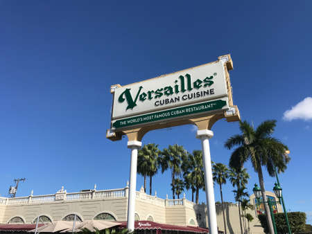 Miami, FL - January 19, 2020: Versailles Sign Cuban Restaurant in calle Ocho Street. Photo image