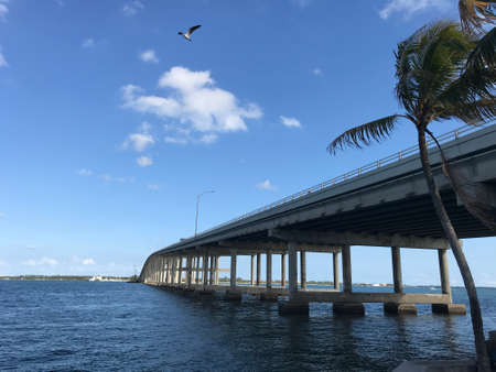 Rickenbacker Causeway Bridge Miami that connects Miami to Key Biscayne and Virginia Key. Photo image
