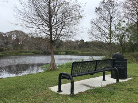 Metal bench beside lake in the park. Photo image