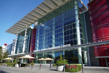 Houston, TX - October 29, 2020: Downtown Houston George R. Brown Convention Center on the Avenida de las Americas Houston Texas.