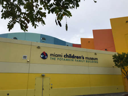 MIAMI, USA - January 30, 2020: Miami Childrens Museum building facade Museum located in Watson Island, on Biscayne Bay Editöryel
