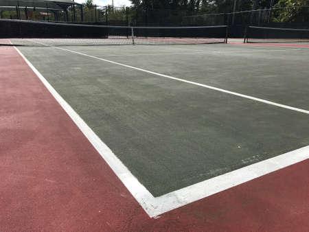 White lines on green tennis court. Photo image Stok Fotoğraf