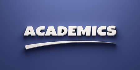 Academics Headline Writing. 3D Render Illustration banner