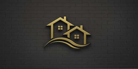 Real Estate Houses in Gold Color. 3D Rendering Illustration Logo