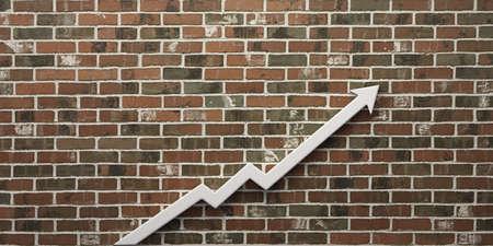 Finance Arrow up profit in brick background. 3D Render Illustration
