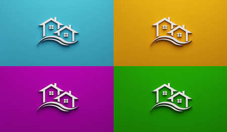 Real Estate Houses in white color in four different color backgrounds. 3D Rendering Illustration Logo