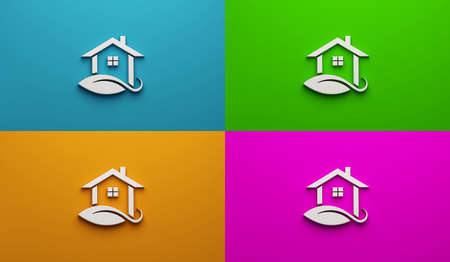 Real Estate Houses Leaf in white color in four different color backgrounds. 3D Rendering Illustration Logo Stok Fotoğraf