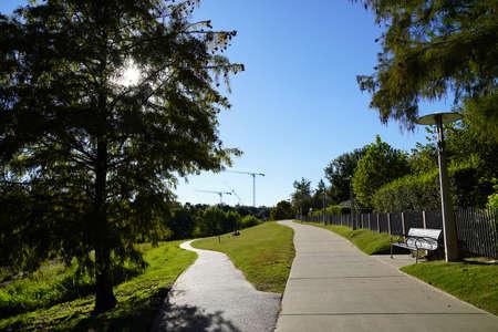 Concrete trail Houston Texas Buffalo Bayou Park Landscape Photo Image