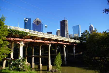 Downtown Houston Bridge in Buffalo Bayou Park . Landscape Photo
