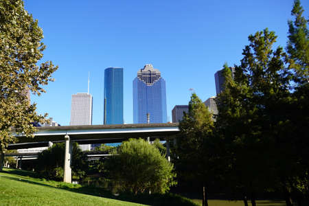 Highway Road Throung Downtown Houston in Sunset afternoon skyscrapers. Photo image Stok Fotoğraf