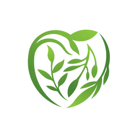 Green Heart icon logo with leaves. To be used for eco vegan herbal healthcare organic nature care concept design