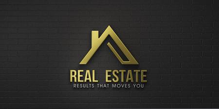Real Estate House Gold  Design. 3D Rendering Illustration Stok Fotoğraf