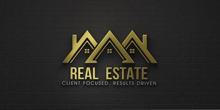 Real Estate Group of Houses in Gold color  Design. 3D Rendering Illustration Stok Fotoğraf