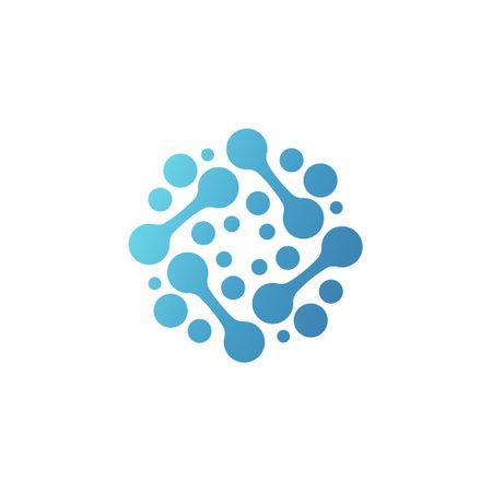 Nano technology structure  . Circular scientific innovation Logo vector illustration Çizim