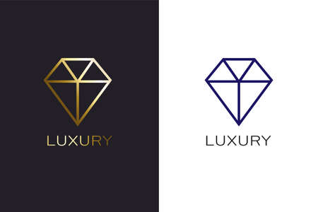 Diamond Linear logo in gold and solid lines vector