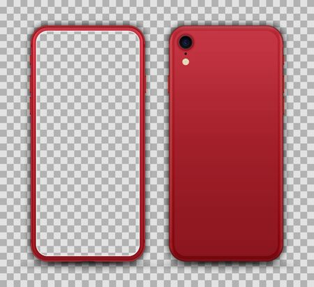 Mobile Phone on Transparent Background. Red Color. Vector Illustration.