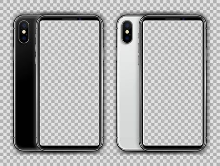 White and Black Mobile Phone on Transparent Background. Vector Illustration.