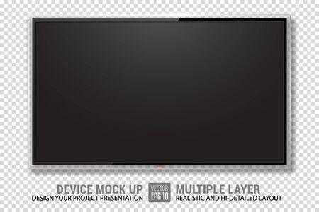 Realistyczna telewizja. Makieta telewizora. Ilustracja wektorowa