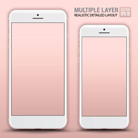 Big and Small Phone. Pink color. Vector Illustration.
