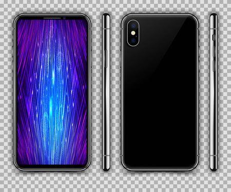 Black Mobile Phone. Vector Illustration.