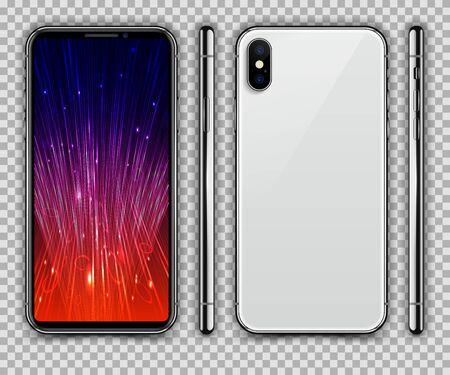 White Mobile Phone. Vector Illustration.