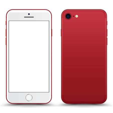 Smartphone with blank Screen. Red Color. Vector Illustration. Illusztráció