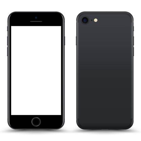 Smartphone con pantalla en blanco. Color gris. Ilustración de vector.