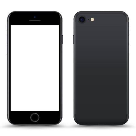 Smartphone with blank Screen. Grey Color. Vector Illustration.