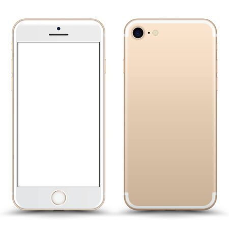 Smartphone with blank Screen. Gold Color. Vector Illustration.