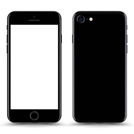 Smartphone met leeg scherm. Zwarte kleur. Vectorillustratie.