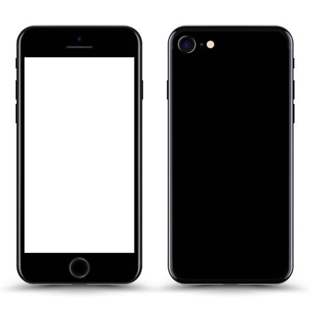 Smartphone with blank Screen. Black Color. Vector Illustration.