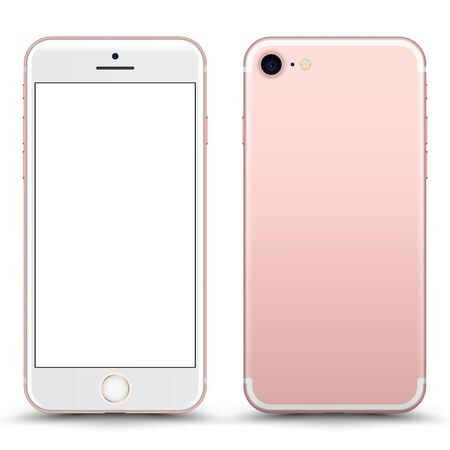 Smartphone with blank Screen. Pink Color. Vector Illustration.
