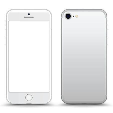 Smartphone con pantalla en blanco. El color blanco. Ilustración de vector.