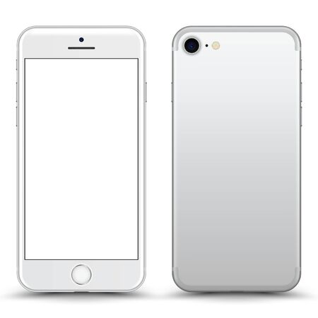 Smartphone with blank Screen. White Color. Vector Illustration.
