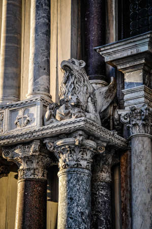 st marks square: griffin gargoyle in St. Marks Square Venice Editorial