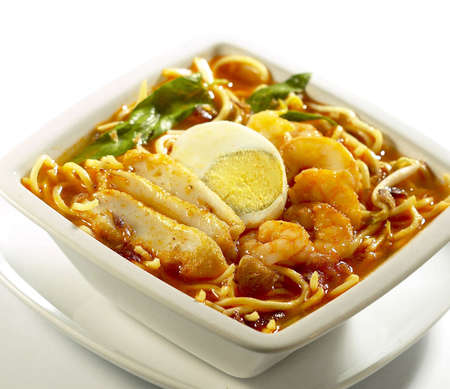 chinese food.prawn mee soup. photo