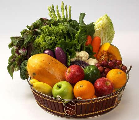 healthy food.baskets of veges n fruits.