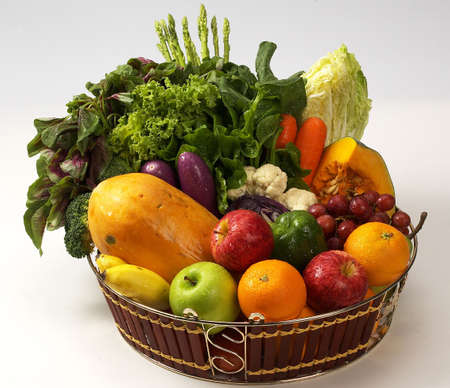 healthy food.baskets of veges n fruits. photo