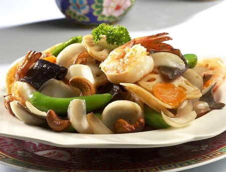 mix vegetable,fried prawn vegetable,