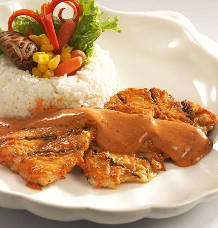 grilled fish,fish.grilled fish rice. Stock Photo