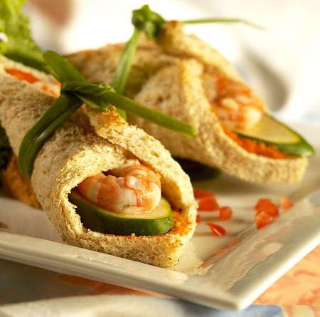 Prawn mee,prawn roll,prawn bread roll, Stock Photo