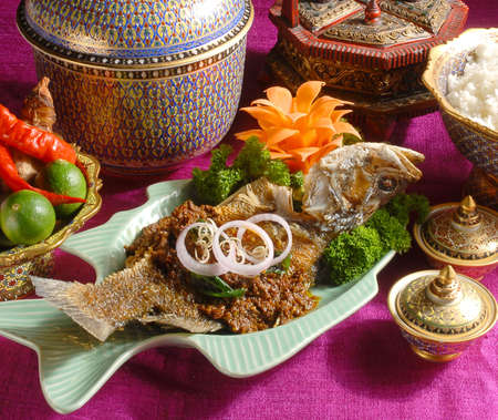 spicy friedfish, food set,buffet,
