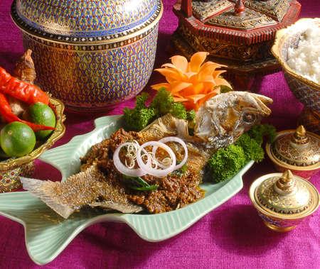 spicy friedfish, food set,buffet, Stock Photo - 7794701